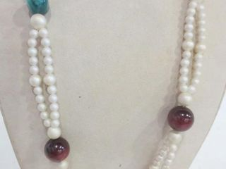 DOUBlE STRAND SIMUlATED PEARl NECKlACE WITH 7