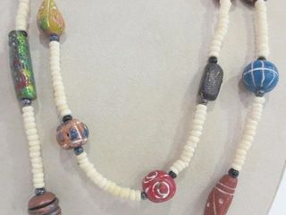 BEIGE BEAD NECKlACE WITH 20 HAND MADE BEADS