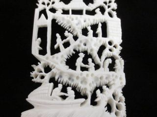 IVORY CARVING ON WOOD STAND   2 X 3 H