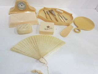 DRESSER SET AND TRINKET BOXES  ClOCK AND FAN