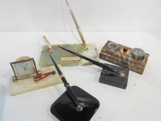 STONE ONYX DESK SETS  PENS  INK WEll