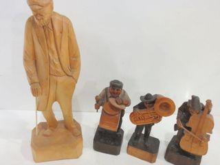 FOlK ART WOOD CARVING OF MAN  15 H  TRIO OF WOOD