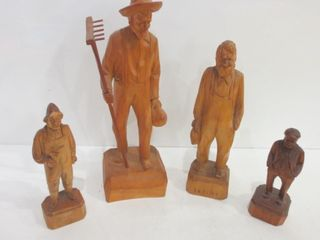 FOlKART WOOD CARVINGS   2 SIGNED BY P E  CARON