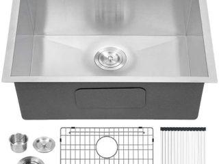 lordear Deep laundry Utility Sink Drop in Topmount Single Bowl 16 Gauge Stainless Steel
