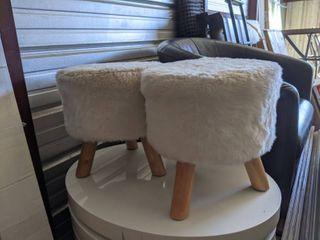 White Fluffy Round Chairs