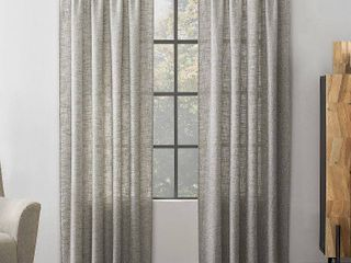 84 x52  Wallis Crosshatch Slub Textured linen Blend Sheer Rod Pocket Curtain Panel Brown   Scott living RETAIl  29 99