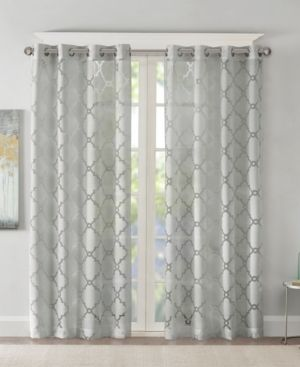 95 x50  Zoe Fretwork Burnout Sheer Curtain Panel Gray RETAIl  29 99