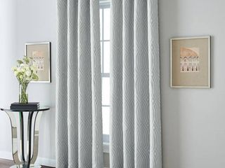 Wave lane Room Darkening lined 84 inch Grommet Curtain Panel   Grey   84 inch RETAIl  39 99