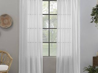 96 x52  Crushed Texture Anti Dust Sheer Curtain Panel White   Clean Window RETAIl  43 92