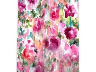 Oliver Gal  In Wonderful  Floral and Botanical Decorative Shower Curtain   Pink  Green Retail 85 49