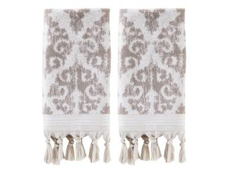SKl home Mirage fringe 2 pc hand towel set TAUPE RETAIl  28 49