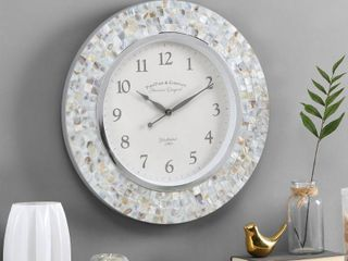 FirsTime   Co r Vivien Ivory Pearl Mosaic Clock  American Crafted  Ivory Pearl  Plastic  19 5 x 1 75 x 19 5 in RETAIl  102 49