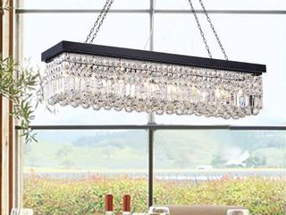 Rectangular Chandelier Kitchen Island Crystal Dining Industrial lighting 8 light Retail 215 49