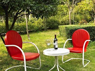 Griffith 3 Piece Metal Outdoor Conversation Seating Set   Two Chairs in Red Finish with Side Table in White Finish Retail 202 49
