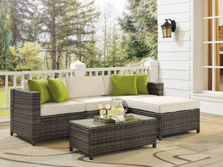 INCOMPlETE SET Saltiara 5 piece gray wicker sectional RETAIl 779 99