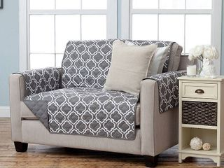 Home Fashion Designs Adalyn Collection Printed Reversible Sofa Protector   Charcoal  30 97