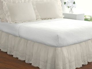 Fresh Ideas lauren Heirloom Ruffled Eyelet 14 inch Drop Bedskirt KING RETAIl  41 49