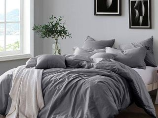 All Natural luxurious Soft Prewashed Yarn Dye Cotton Chambray Duvet Cover Set Retail 86 64 QUEEN