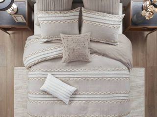 King California King lennon Organic Cotton Jacquard Duvet Cover Set Taupe  353 68