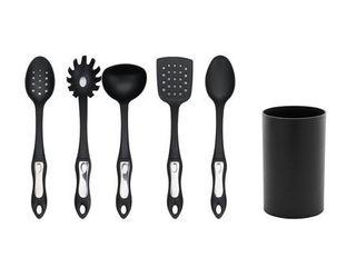 Hamilton Beach Kitchen 6 Piece Soft Touch Handle Cooking Utensil Set  Black