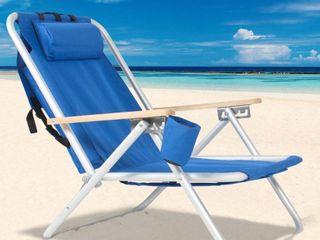 140  Portable High Strength Beach Chair with Adjustable Headrest