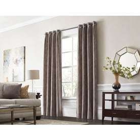 allen   roth Winbourne 95 in Sand Polyester Grommet Room Darkening Thermal lined Single Curtain Panel