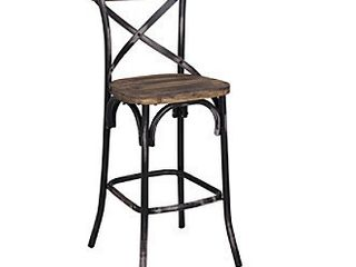 ACME Zaire Bar Stool in Walnut and Antique Black