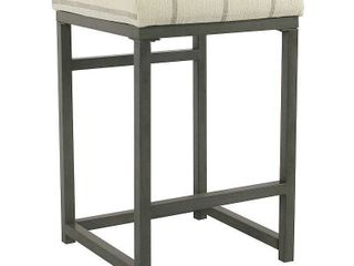 HomePop Open Back 24  Counter Stool   Wicker Gray   24 inches
