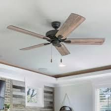 The Gray Barn Harkye Farmhouse 52 inch Aged Bronze Ceiling Fan in Barnwood Tumbleweed Blades