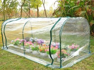 Outsunny 7 l x 3 W x 2 5 H Outdoor Portable Flower Plant Garden Greenhouse with Resistance to UV Rays   Good Ventilation