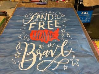 land of the Free   Home of the Brave   Flag Banner  40 x 28 in