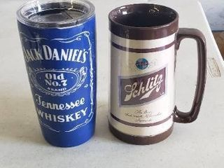 Pair Of Thermal Cups  Schlitz And Jack Daniels