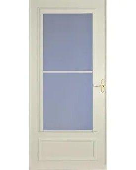 lARSON Savannah 36 in x 81 in Almond Mid View Wood Core Storm Door Model  37080082