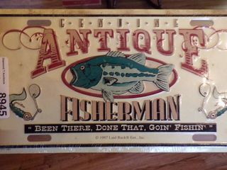 ANTIQUE FISHERMAN lICENSE PlATE   NEW