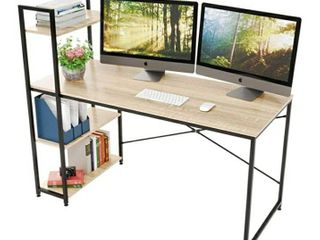 Bestier 55 Inch Computer Desk with Shelves  Modern Writing Desk with Bookshelf  Study Desk Writing Table for Home Office P2 Wood  Oak