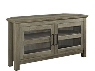 44  Transitional Farmhouse Wood Corner TV Console in Grey Wash