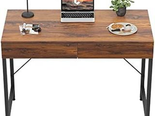 CubiCubi Computer Small Desk  40 inches with 2 Storage Drawers for Home Office Writing Desk  Makeup Vanity Console Table  Dark Rustic