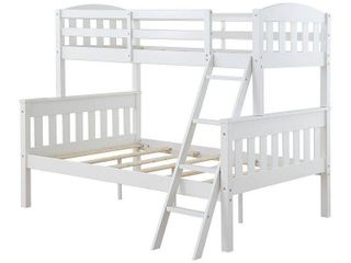 Dorel living Airlie Twin Over Full Wood Bunk Bed  White  79 5in X 69 13in X 64 63in