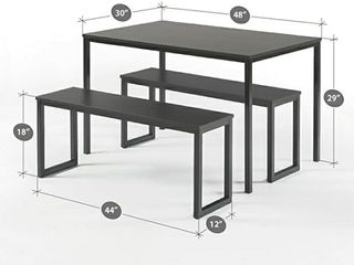 Zinus louis Modern Studio Collection Soho Dining Table  Two Benches   3 Pc Set  Espresso