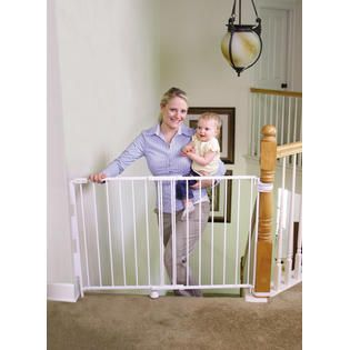 Regalo Extra Tall and Wide 2 in 1 Stairway   Hallway Wall Mounted Baby Gate   Fits Openings 29    43    Includes Banister and Wall Mounting Kit