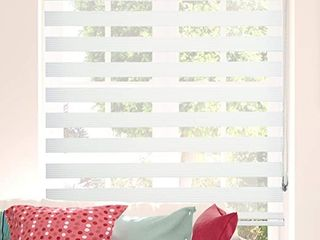 ShadesU Zebra Dual layer Roller Sheer Shades Blinds  light Filtering Window Treatments  Privacy light Control for Day and Night   Bamboo White    59  W x 72  l