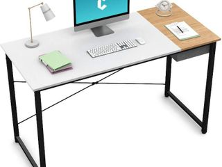 Cubiker Computer Desk 47  Home Office Writing Study laptop Table  Modern Simple Style Desk with Drawer  White Natural