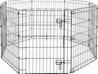 Basic Crates Foldable Metal Pet Exercise And Playpen With Door  36