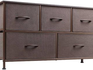 WlIVE Dresser with 5 Drawers  Fabric Storage Tower  Organizer Unit for Bedroom  Hallway  Entryway  Closets  Sturdy Steel Frame  Wood Top  Easy Pull Handle