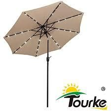 Tourke 9 Ft led lighted Patio Table Umbrella Outdoor Umbrella with Push Button Tilt and Crank  8 Steel Ribs  for Garden  Deck  Backyard  Swimming Pool and More Taupe