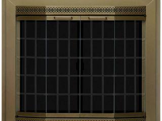 Gold Pleasant Hearth GR 7202 Grandoir Fireplace Glass Door  Antique Brass  large