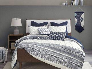 King California King 3pc Mila Cotton Printed Comforter Set Navy