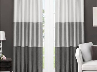 Set of 2 84 x54  Chateau Striped Faux Silk Grommet Top Window Curtain Panels Dark Gray   Exclusive Home