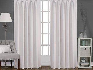 Set of 2 96 x52  Sateen Pinch Pleat Woven Blackout Back Tab Window Curtain Panel Vanilla   Exclusive Home