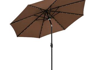 Ainfox 10 Ft Brown Outdoor Patio Solar Umbrella